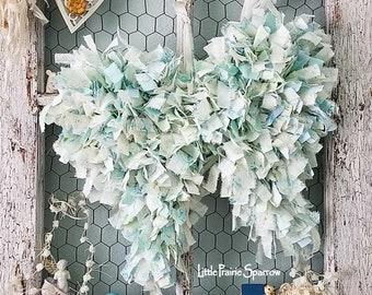 Wings, Angel Wings, Rag Wings, Blue Wings, Wedding Prop, Flower Girl, Ring Pillow Alternative, Nursery Decor, Brides Chair, Holiday Decor