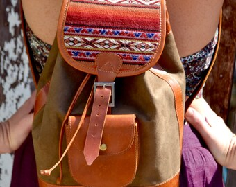 Mini Backpack |Suede Backpack | Buffalo Suede | Incan Backpack | Peru Backpack | Brown Backpack | Mini Backpack |Customisable
