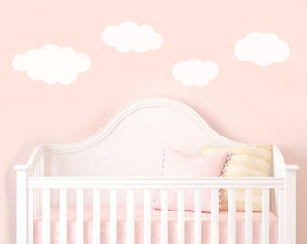 Set of (4) large fluffy white clouds cloud vinyl wall stickers girls boys bedroom dreamy nursery pack of 4
