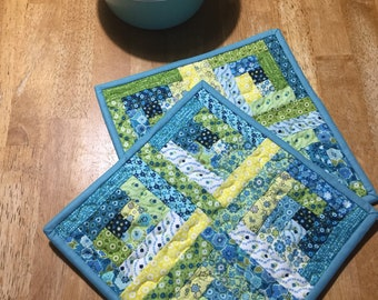 Quilted Hot Pads/Pot Holders/Log Cabin Trivets/Set of Two/Blue Green