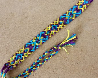 Knotted Friendship Bracelet - Diamond Cross - teal, purple, yellow