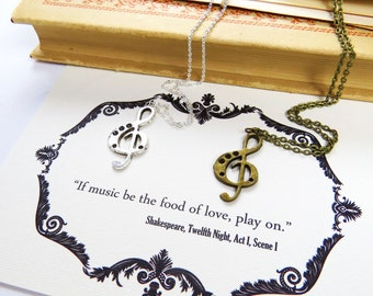 Shakespeare Music Note Necklace - Treble Clef Necklace - Literature Gift for Book Lover - Music Gift - Music Note Jewelry