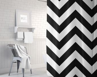 Chevron Shower Curtain, Black and White, Fabric Shower Curtain, Standard or Extra Long, Girls Room Decor, Dorm Room Decor, Bathroom
