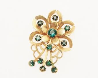Vintage Rhinestones Flower Brooch, Gold Flower Brooch, Green Rhinestone Brooch
