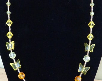 Yellow Butterfly Necklace for woman or girl