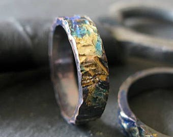 Mens Wedding Band Rustic Mens Wedding Ring Oxidized Ring Gold Silver Unique Mens Wedding Band Viking Wedding Ring Wedding Bands Hammered