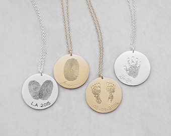Actual Fingerprint Necklace - Personalized Handprint Necklace - Baby Footprints Necklaces - Meaningful Mother's Day Gifts PN03.22