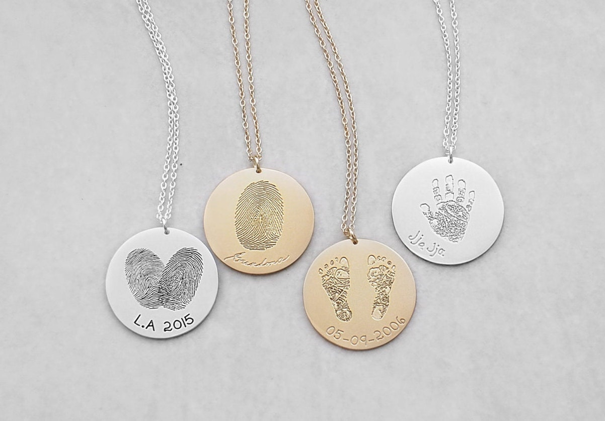 on charm heart fingerprint hand ls jewellery double necklace round