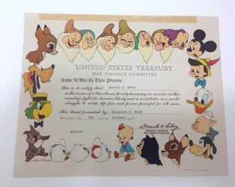 Walt Disney War Bond WWII US Treasury 1944-45 Original