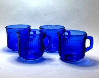 Set of four cobalt blue coffee mugs by Fortecrisa