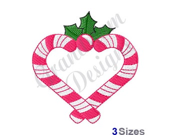Candy Cane Heart - Machine Embroidery Design