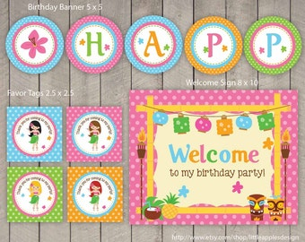 Luau Party Package / Luau Birthday Pack / Luau Party Decoration / Luau Party Printable / Luau Printable / Luau Party Pack