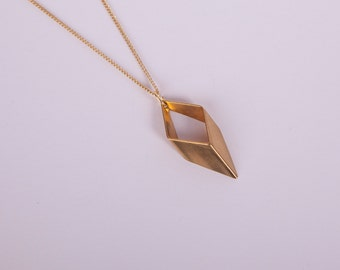 Gold Plated Necklace Rhombus  Golden Necklace Minimal Jewelry Necklace Diamond