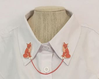 Fox Collar Clips [sweater clips pins collar chain brooches]