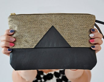 Gold Linen Clutch, Leather Handbag, Black Leather Clutch, Clutch Bag, Linen Clutch