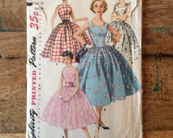 Vintage Simplicity Pattern #1213 for Teen One Piece Dress Size 12