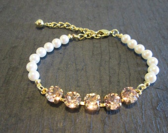 NEW Pearl and  Vintage Rose Swarovski Bracelet/Vintage Rose and Cream Pearl Bridesmaid Jewelry/Vintage Rose  Bracelet/Faux Pearl Bracelet