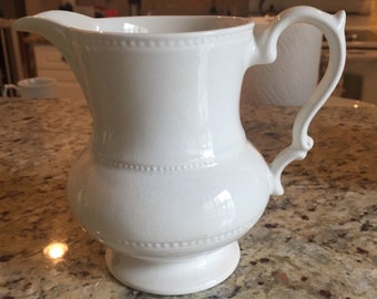 Vintage white English Ironstone Pitcher Cuthbertson House Shelf  Display Wedding China Mix and Match Tea Party