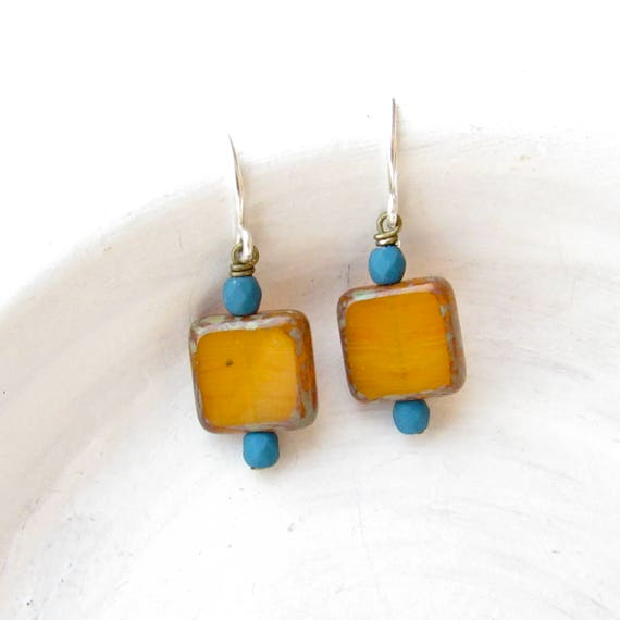 Dainty Square Earrings > Mustard