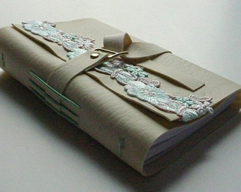 Mother's Day Gift Idea Faux Leather Journal/Notebook - Mint and Beige Venice Lace