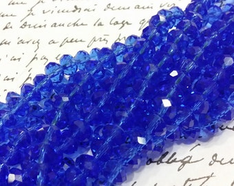 Glass Beads - Blue Faceted Beads -  6mm x 4mm  -  Blue Glass Beads - 42 pcs.