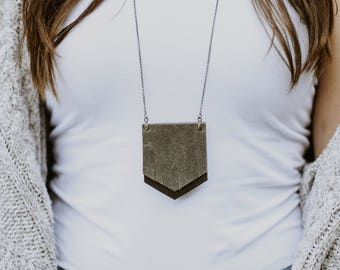 Pewter Fringe Leather Pendant | Long Chain Natural Jewelry