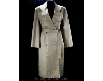 Size 12 Sharkskin Coat by Perry Ellis - Designer 1990s Double Breasted Tan Brown Chameleon Cotton Canvas - Trench Inspired - Bust 42 - 50138