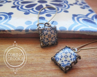 Wanderlust jewelry, Azulejos tiles, Portuguese jewelry, Spanish tile drop earrings, Gypsy Boho jewelry, Iberian, Moorish, blue and white