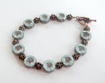 Mint Green Floral Bracelet - Czech Glass Bracelet - Light Green Bracelet - Copper - Toggle Bracelet - Czech Glass Flower Bead - Gift for Her