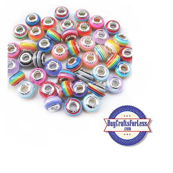 ASSORTED Colorful Striped BEADs, Acrylic, Large Hole, 50 PCS **FREE Shipping*