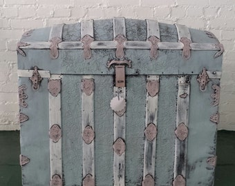Antique Camel Back Steamer Trunk Distressed Pink/Blue/White 1900's Trunk