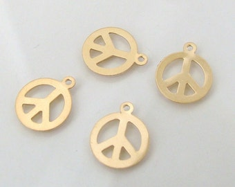 2 Pcs. - 14K Gold Filled Peace Sign Charms - 10.5mm, GC26