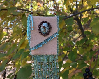 Women's Jewelry|Amulet Bag, Handmade Beaded Amulet Bag|Turquoise Cabochon, Seed Beads|Gift for Her|Christmas Gift| Ultrasuede bag