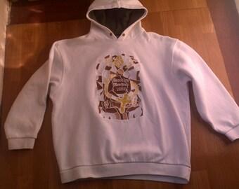 KARL KANI hoodie, white sweatshirt of 90s hip-hop clothing, 1990s hip hop shirt, OG, gangsta rap, vintage rap, og, size L Large