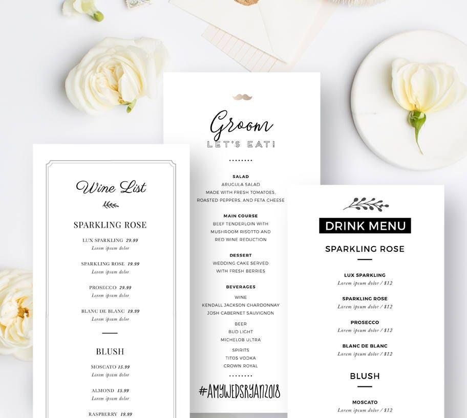 Editierbare Hochzeit-Menü-Vorlagen trinken Menü PSD-Design
