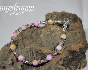 Delicate sparkly pink beaded bracelet
