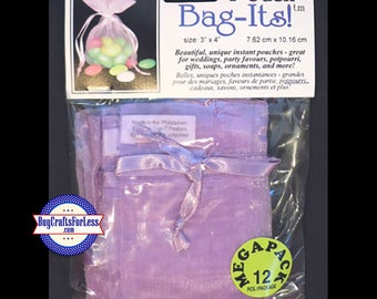 "Sheer Organza PARTY Bag-its, 72 pcs 3"" x 4"", lt purple +FREE SHIPPING & Discounts*"