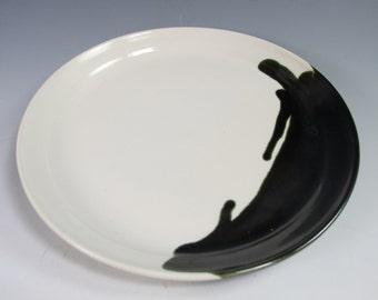 Handmade, stoneware, serving platter. Bright white and black