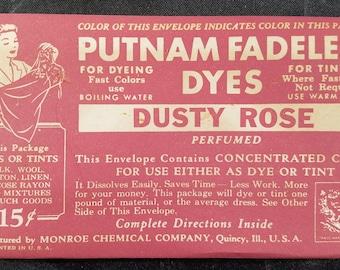 Vintage Packet of Putnam Fadeless Dye Dusty Rose 1940s