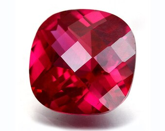 One Piece AAA Rated Find Handcut Cushion Checkerboard Faceted Lab Created Ruby Sizes 5mm-18mm