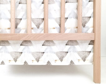 Crib Skirt Neutral Watercolor Triangles. Baby Bedding. Crib Bedding. Crib Skirt Boy. Baby Boy Nursery. Gray Crib Skirt. Triangle Crib Skirt.