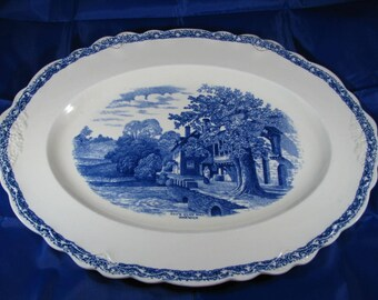 Countryside Old Hall Ivory Ware England Platter (Blue) Guy's Cliff Mill Warwick