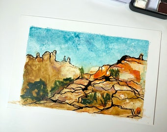 Southern Utah landscape, original watercolor and ink painting