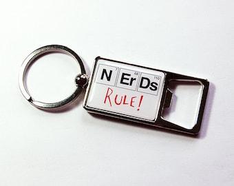 Keyring bottle opener, Nerds Rule, Bottle Opener, Keychain bottle opener, Key ring, key chain, Periodic Table, Geekery, Gift for Geek (5117)