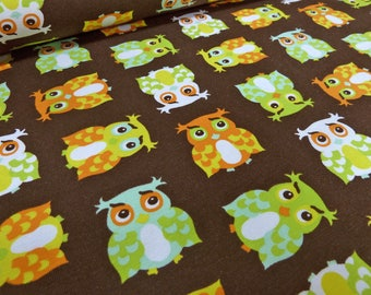 Fabric Cotton Jersey OWL print Brown printed fabric (15.40 EUR / meter)