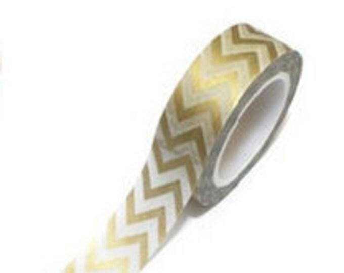 SALE Washi Tape - 1 pc - Gold Chevron - Paper Deco Tape
