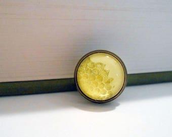 Honeycomb Natural History Small Pin Brooch Tie Tack Honey Bee Yellow Gold