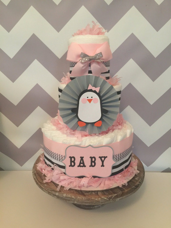 Penguin Diaper Cake For Girls, Penguin Baby Shower Centerpiece, Decorations
