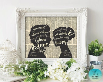 JANE AUSTEN QUOTE. Pride and Prejudice Quote. Mr and Mrs Wedding Sign. Jane Austen Gifts. Printable. Wall Art. Romantic Anniversary Gift