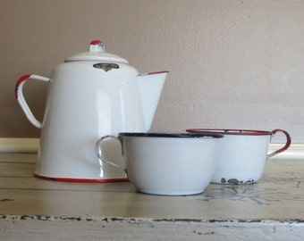 Vintage Enamel Tea Kettle with Two Cups Blue and Red Red and White Enamelware Blue and White Enamelware Coffee Pot Tea Pot Enamel Pot